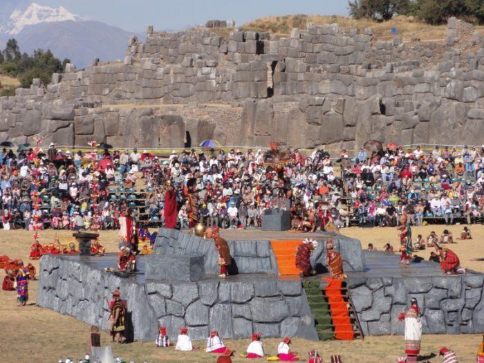 Inti Raymi festival in Cusco, Peru. Fortress of Sacsayhuaman