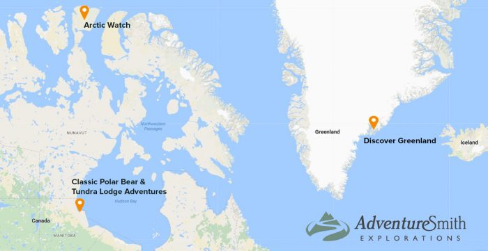 Location of Arctic trips