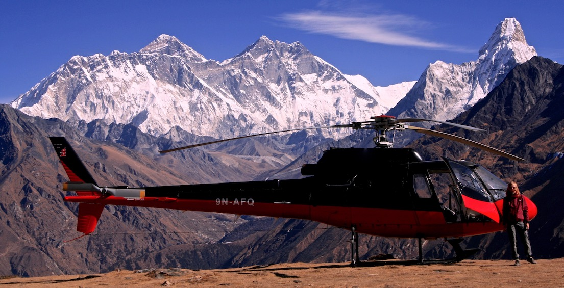 Private helicopter flight to see Everest